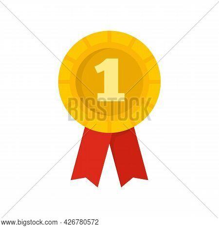 Dog First Place Emblem Icon. Flat Illustration Of Dog First Place Emblem Vector Icon Isolated On Whi