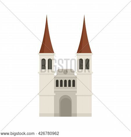 Swiss Cathedral Icon. Flat Illustration Of Swiss Cathedral Vector Icon Isolated On White Background