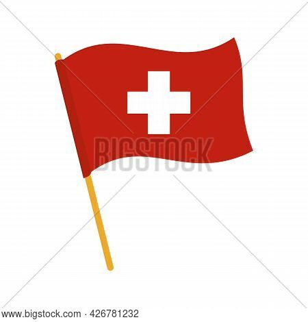 Swiss Flag Icon. Flat Illustration Of Swiss Flag Vector Icon Isolated On White Background