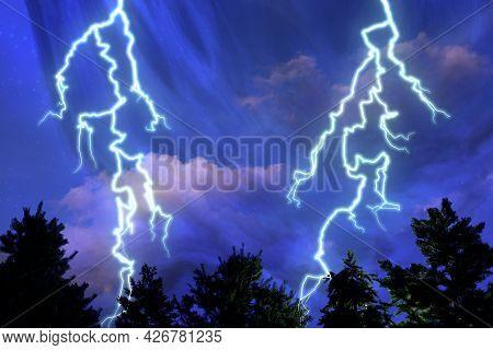 Severe Thunderstorm Watch Lightning Clouds Sky 3d Illustration