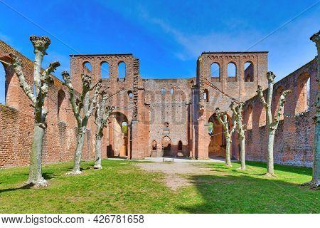 Bad Dürkheim, Germany - May 2021: Ruin Of Limburg Abbey In Palatinate Forest Near Bad Durkheim City