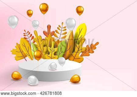 Autumn Leaves 3d Yellow, Red, Brown, Orange Colors. Fall Bouquet, Pedestal, Stage, Podium, Foil Ball