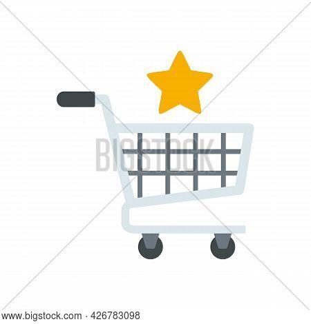 Shopping Bonus Cart Icon. Flat Illustration Of Shopping Bonus Cart Vector Icon Isolated On White Bac