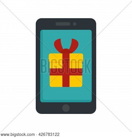 Smartphone Bonus Gift Icon. Flat Illustration Of Smartphone Bonus Gift Vector Icon Isolated On White