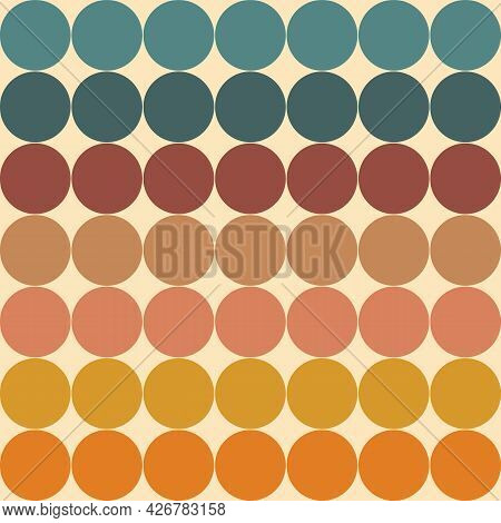 Retro Geometric Background With Circles. Hippie Colors Illustration. Trendy Graphic. Vector Modern P