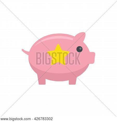 Loyalty Piggy Bank Icon. Flat Illustration Of Loyalty Piggy Bank Vector Icon Isolated On White Backg