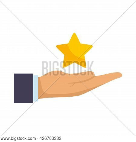 Loyalty Star In Hand Icon. Flat Illustration Of Loyalty Star In Hand Vector Icon Isolated On White B