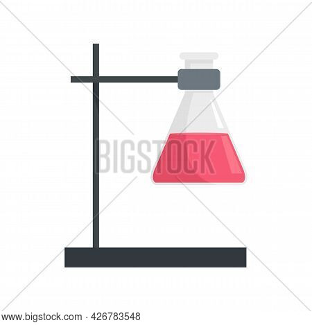 Flask On Metal Stand Icon. Flat Illustration Of Flask On Metal Stand Vector Icon Isolated On White B