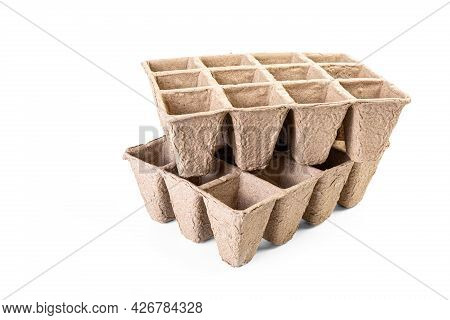 Compostable Gardening, Cell Packs Made Out Of Peat Fiber, Isolated On White.