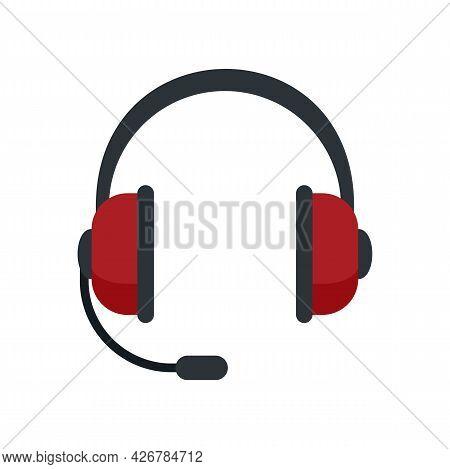 Customer Headset Icon. Flat Illustration Of Customer Headset Vector Icon Isolated On White Backgroun