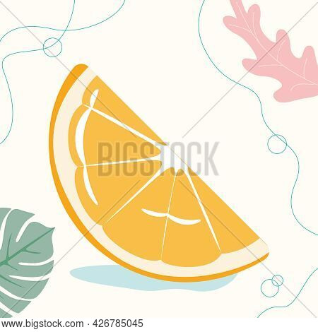 Vector Inflatable Mattress Or Orange Slice Circle On The Beach Or Near The Pool Ready To Swim. Vecto
