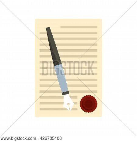 Legislation Paper Icon. Flat Illustration Of Legislation Paper Vector Icon Isolated On White Backgro