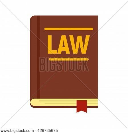 Legislation Book Icon. Flat Illustration Of Legislation Book Vector Icon Isolated On White Backgroun