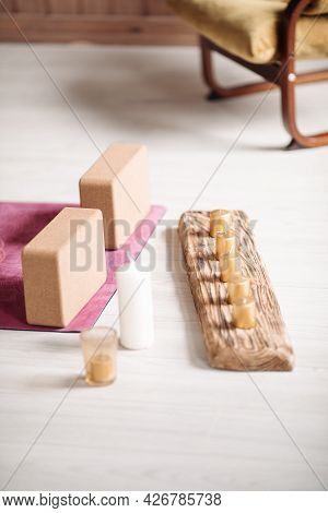 Natural Eco-friendly Aromatic Candles On Wooden Stylish Candlestick On Floor. Interior Elements, Hom