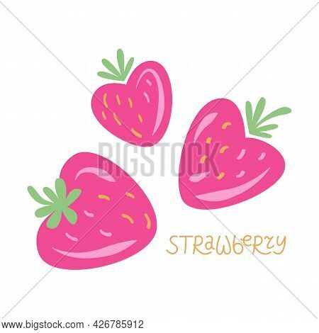Strawberry. Set Of Strawberries In The Shape Of A Heart, Vector Summer Illustration. Isolated Cartoo