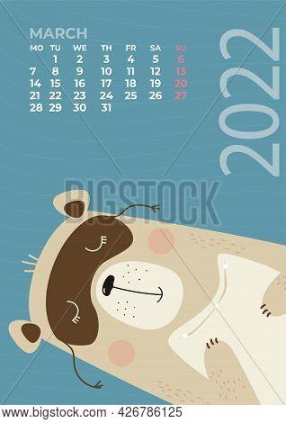 Bear Calendar. March 2022. A Cute Bear Sleeps With A Pillow In Its Paws And A Sleep Mask. Vector Ill