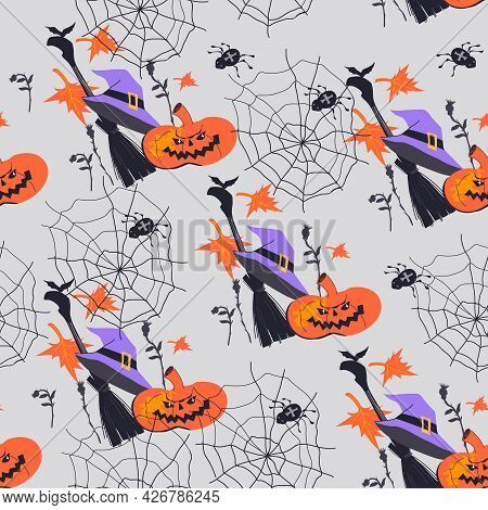 Halloween Seamless Pattern With Witches Broom And Pumpkin, Flat Cartoon Vector Illustration On Grey