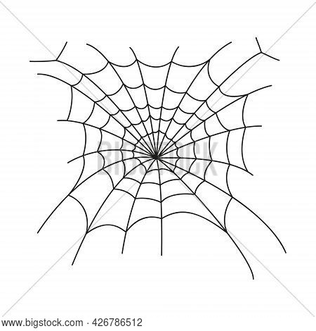 Tangled Cobweb In Linear Style. Spider Web Icon Isolated On White Background. Design Element For Hal