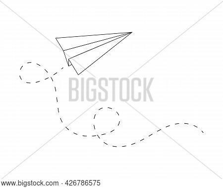 Fold Origami Paper Plane With Path Loops. Outline Symbol Of Delivery, Communication, Travel, Imagina