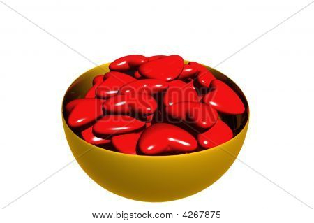 3D Rendered Bowl Of Valentine Hearts