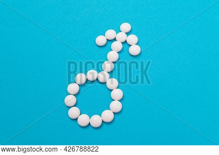 Male Gender Symbol Made From White Pills - Mens Health And Medicine, Medicaments For Men, Lying On B