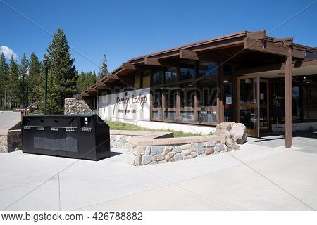 Wyoming, Usa - June 28, 2021: Canyon Lodge Building In Yellowstone National Park Offers Dining, Gift