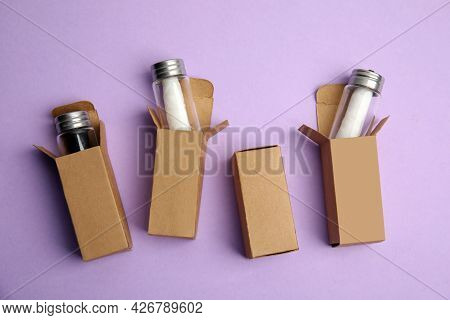 Flat Lay Composition With Natural Dental Floss On Violet Background