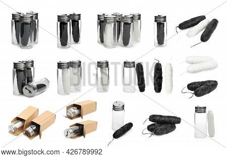 Set With Rolls Of Natural Dental Floss On White Background