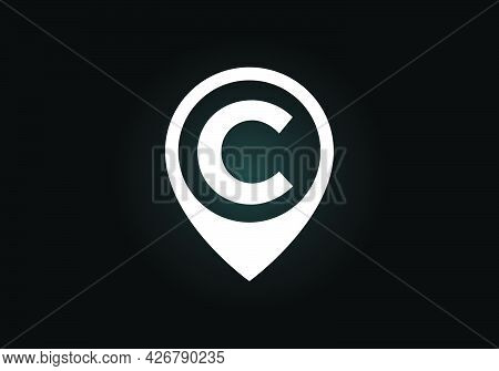 Initial C Monogram Letter Alphabet With Location Icon Pin Sign. Font Emblem. Navigation Map, Gps, Di
