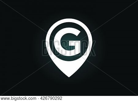 Initial G Monogram Letter Alphabet With Location Icon Pin Sign. Font Emblem. Navigation Map, Gps, Di