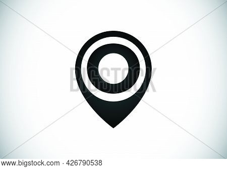 Initial O Monogram Letter Alphabet With Location Icon Pin Sign. Font Emblem. Navigation Map, Gps, Di