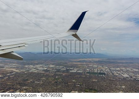 Aerial View Of North Phoenix, Arizona Along Looking East On The Airplane In Usa
