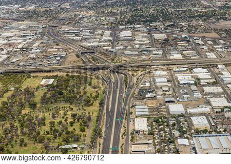 Aerial View Of A Major Freeway Interchange In The Heart Of Phoenix, Arizona Us