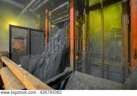 Unloading Ore From The Skip. Cargo Skip Shaft Of An Underground Mine.