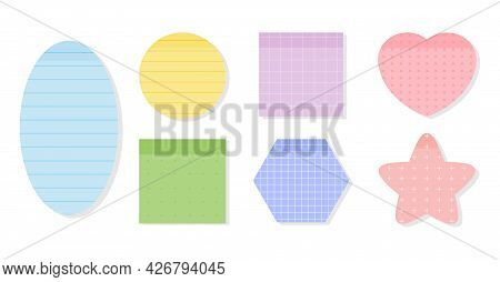 Colored Pastel Paper Sticky Notes Set. Memo Stickers With Different Linear, Cross, Dotted And Grid P