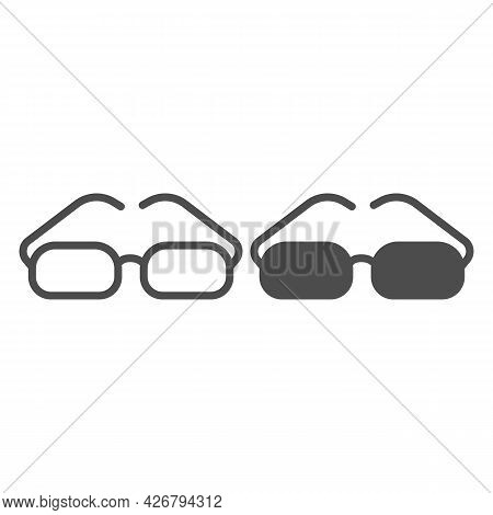Glasses With Rectangular Lenses Line And Solid Icon, Officesyndrome Concept, Glasses Vector Sign On