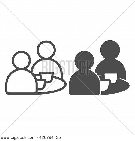 Breakfast With Two People Line And Solid Icon, Englishbreakfast Concept, Two Men Eating Vector Sign