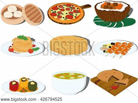 Tasty And Beautiful Dishes Of Different Countries Cuisine Vector Illustration