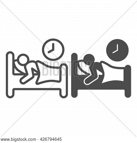 Healthy Sleep Line And Solid Icon, Officesyndrome Concept, Healthy Sleep Vector Sign On White Backgr