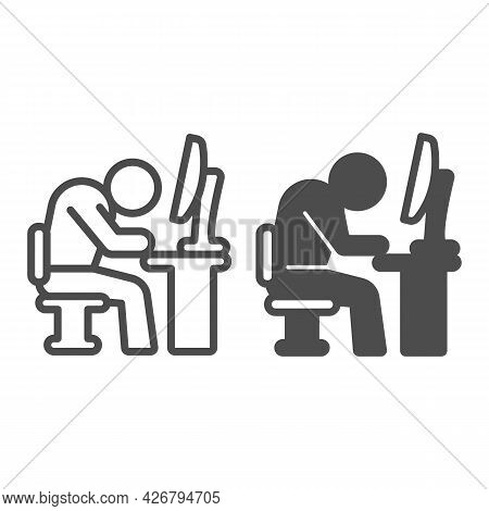 Tired Employee Line And Solid Icon, Officesyndrome Concept, Tired Employee Vector Sign On White Back