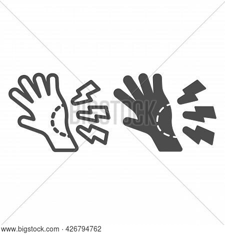 Wrist Pain Line And Solid Icon, Officesyndrome Concept, Wrist Pain Vector Sign On White Background,