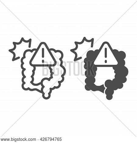 Pain And Bowel Problems Line And Solid Icon, Officesyndrome Concept, Pain, Bowel Problems Vector Sig