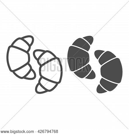 Two Croissants Line And Solid Icon, Englishbreakfast Concept, Two Croissants Vector Sign On White Ba