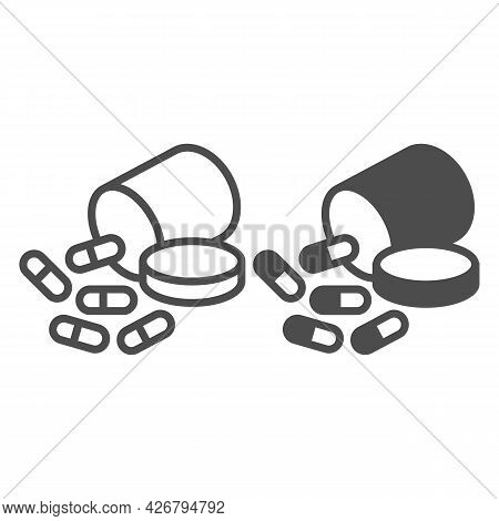 Jar With A Medicine Line And Solid Icon, Officesyndrome Concept, Medicine Vector Sign On White Backg
