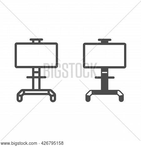 Lcd Tv With Stand Line And Solid Icon, Monitors And Tv Concept, Lsd Tv On Swivel Stand Vector Sign O