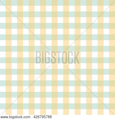 Seamless Pattern Checkered Green And Orange Pastel Color. Illustration Flat Art Design. On White Bac