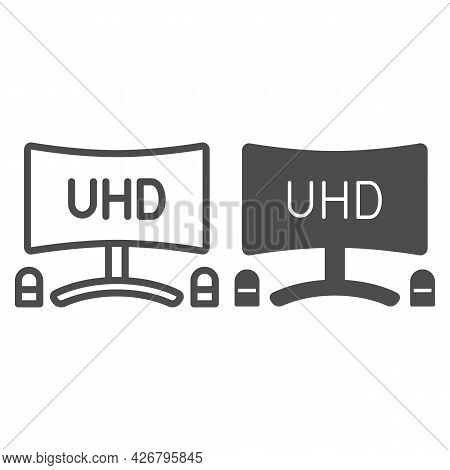 Uhd Monitor With Speakers Line And Solid Icon, Tv Monitors Concept, Tv Set With Loudspeaker Vector S