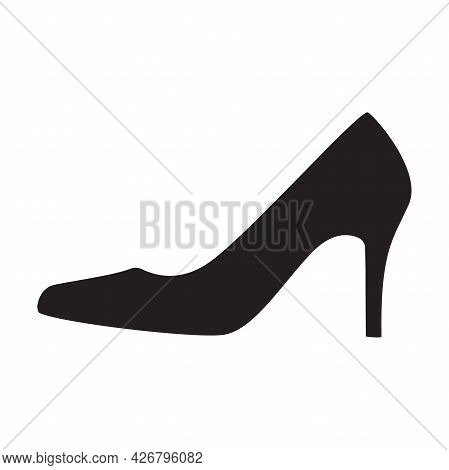 Elegant Womens High Heel Shoe Icon Vector Isolated On White Background For Graphic Design, Logo, Web