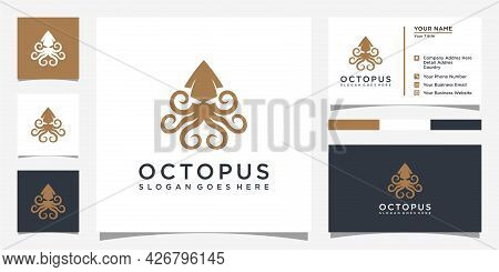 Octopus Logo Design Vector And Business Card Vector
