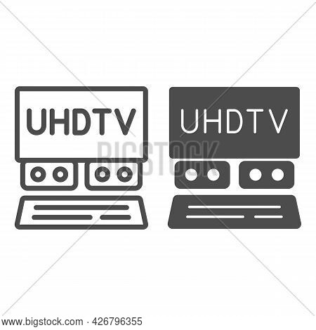 Uhdtv System Line And Solid Icon, Monitors And Tv Concept, Ultra High Definition Television Vector S